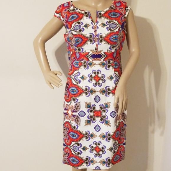 Nine West Womens Cap Sleeve Seam Detail Dress